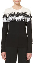 Carolina Herrera Two-Tone Floral-Appliqué; Sweater, Black/Ivory