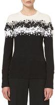 Carolina Herrera Two-Tone Floral-Appliqué; Sweater, Black/Ivory