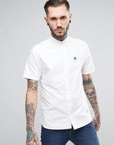Penfield Danube Oxford Shirt Short Sleeve Classic Regular Fit P Logo In White