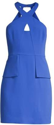 BCBGMAXAZRIA Keyhole Halter Mini Dress