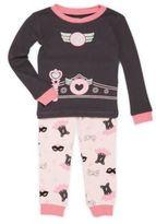 Petit Lem Little Girl's Two-Piece Graphic Roundneck Tee & Pants Pajama Set