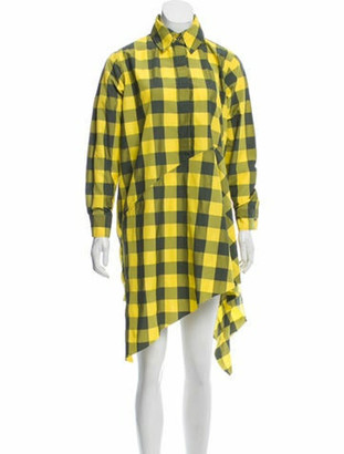 Marques Almeida Plaid Midi Dress Yellow