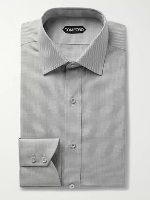Tom Ford Black Slim-Fit Puppytooth Cotton-Poplin Shirt