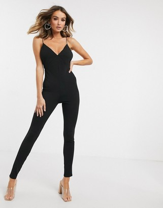 Asos DESIGN plunge unitard with skinny straps