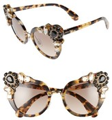 Miu Miu Women's 52Mm Cat Eye Sunglasses - Light Havana