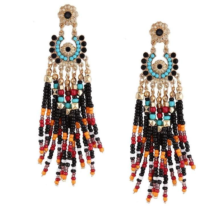 Kiwi Bohemian national wind rice beads tassel earrings fashion personality original earrings