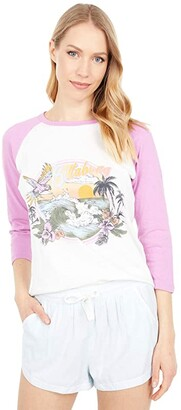Billabong Ride Alone 3/4 Sleeve Tee (Orchid) Women's Clothing