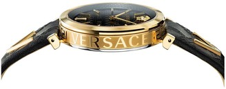 Versace V-Twist Black and Gold Detail Dial Black Leather Strap Ladies Watch