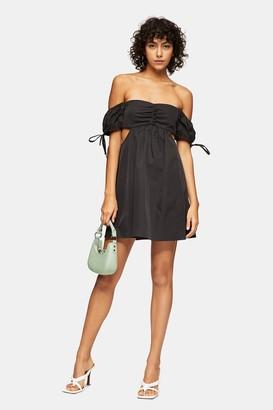Topshop Black Cut Out Puff Mini Dress