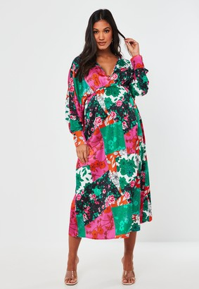 Missguided Pink Floral Kimono Sleeve Maternity Maxi Dress