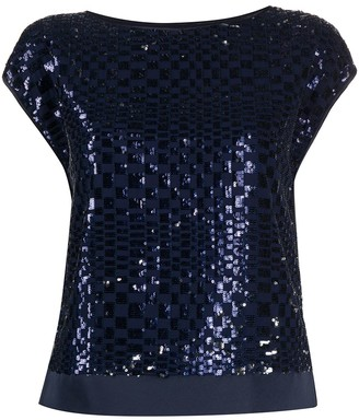 Emporio Armani checked sequin T-shirt