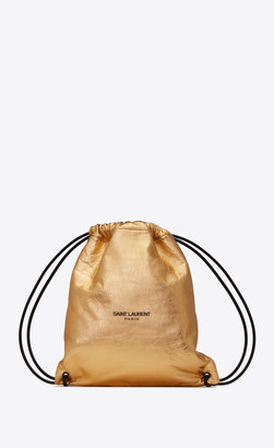 Saint Laurent Teddy Backpack In Metallic Leather Gold Onesize