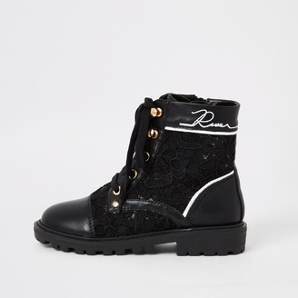 River Island Girls Black lace hiker boots