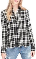 Miss Selfridge Check Pintuck Long Sleeve Button Down Shirt