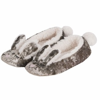Forever Dreaming Women's Bunny Slippers - Fluffy Velvet Memory Foam Slip On Shoes Gold 3-4