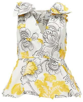 Erdem Romina Floral Fil-coupe Top - Yellow White