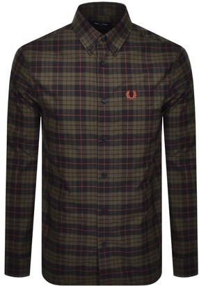 Fred Perry Brushed Oxford Long Sleeved Shirt Green