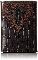 Ariat Men's Top Caiman Cross Overlay Trifold Wallet