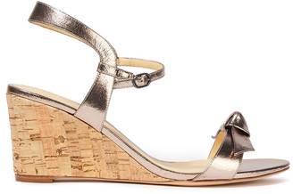 Alexandre Birman Noelle Knotted Metallic Leather Wedge Sandals
