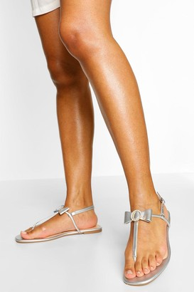 boohoo Diamante Bow Thong Sandal