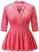 Dilanni Women Elegant Plus Size Lace Tops Short Sleeve Pullover Tops