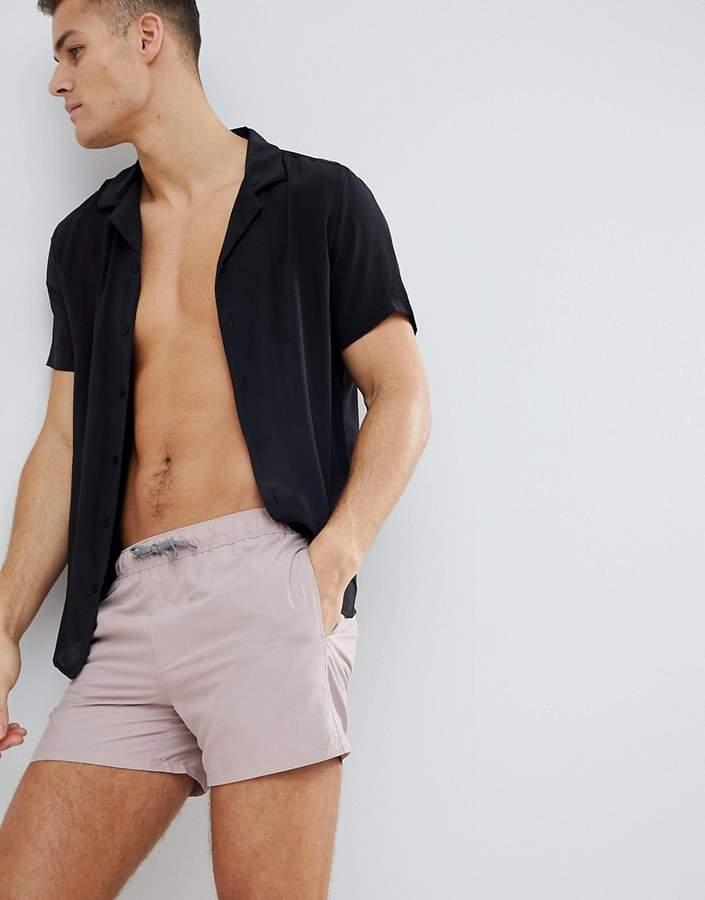 Asos Design Swim Shorts In Dusty Pink In Short Length