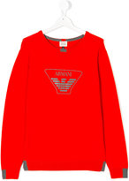 Armani Junior logo print sweatshirt - kids - Cotton/Wool - 14 yrs