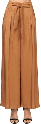 Max Mara Belted Light Silk Shantung Palazzo Pants
