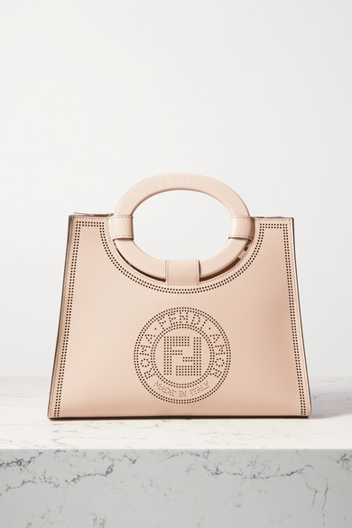 Fendi Runaway Small Perforated Leather Tote - Neutral