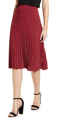 Gibson Print Pleated Midi Skirt