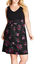 City Chic Plus Size Women's Floral Fit & Flare Dress
