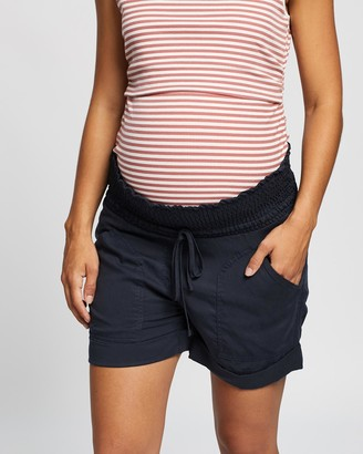 Angel Maternity Women's Navy High-Waisted - Maternity Tencel Summer Shorts - Size One Size, XS at The Iconic
