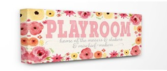 The Kids Room by Stupell Playroom Home Of Mischief Makers Pink Stretched Canvas Wall Art, 10 x 1.5 x 24