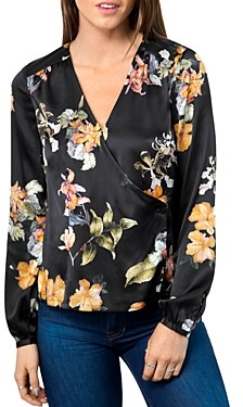 Go Silk Go by Printed Faux-Wrap Blouse