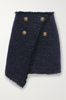 Balmain Button-embellished Asymmetric Tweed Mini Skirt - Navy