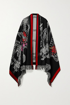 Alexander McQueen Fringed Wool-blend Jacquard Scarf - Black