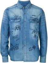 Roar doodle print denim shirt