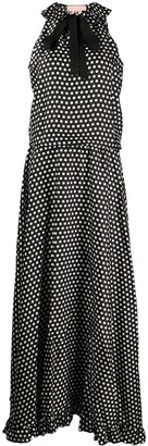 Plan C Pussy-Bow Dotted Maxi Dress
