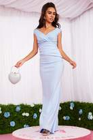 Quiz Blue Lace Ruched Maxi Dress