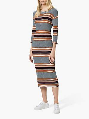 French Connection Tosca Stripe Midi Dress, Grey/Multi