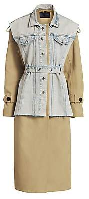 Proenza Schouler Women's Trench Coat with Removable Belted Denim Vest - Size 0