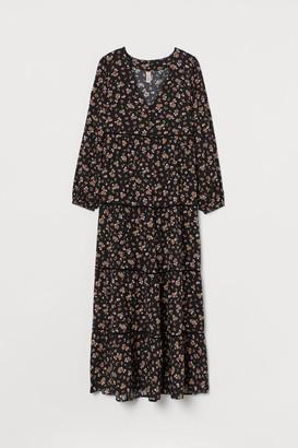 H&M Long V-neck Dress - Black