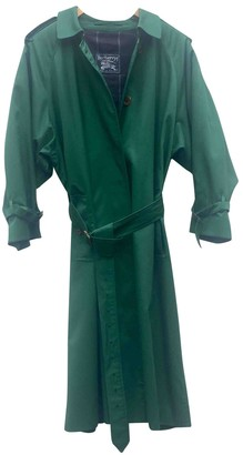 Burberry Green Cotton Trench Coat for Women Vintage