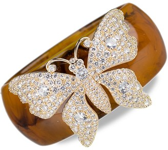 Cz By Kenneth Jay Lane 18K Goldplated, Cubic Zirconia Resin Butterfly Bangle