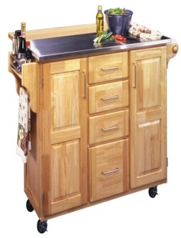 Home Styles Natural Breakfast Bar Kitchen Cart with Stainless Steel Top