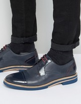 Ted Baker Braythe 2 Derby Shoes In Navy Leather