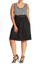 City Chic Plus Size Women's Ahoy Sailor Belted Fit & Flare Dress