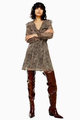 Topshop Womens Tall Tan Heart Animal Print Ruffle Mini Dress - Tan