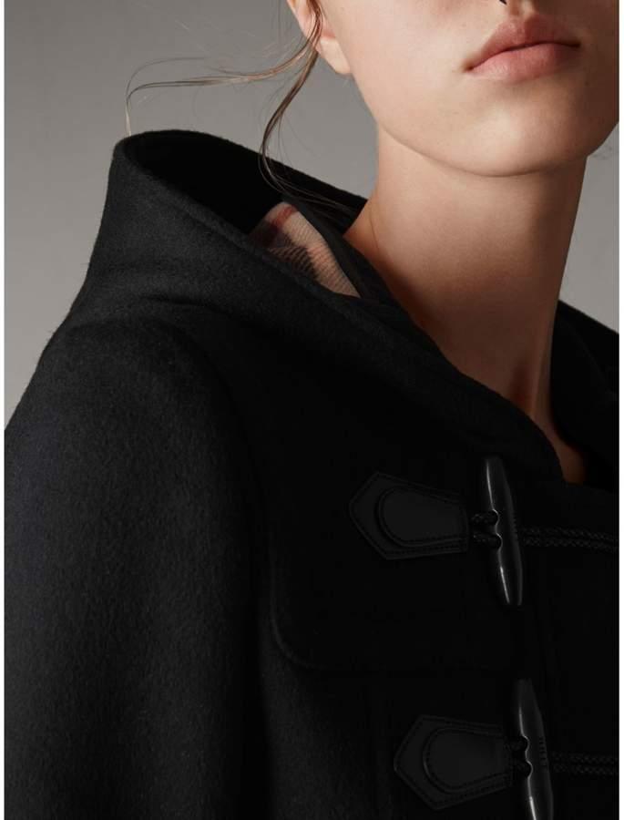 Burberry Detachable Fur Trim Wool Duffle Coat , Size: 08, Black