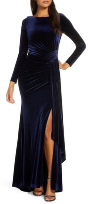 Vince Camuto Long Sleeve Velvet Gown